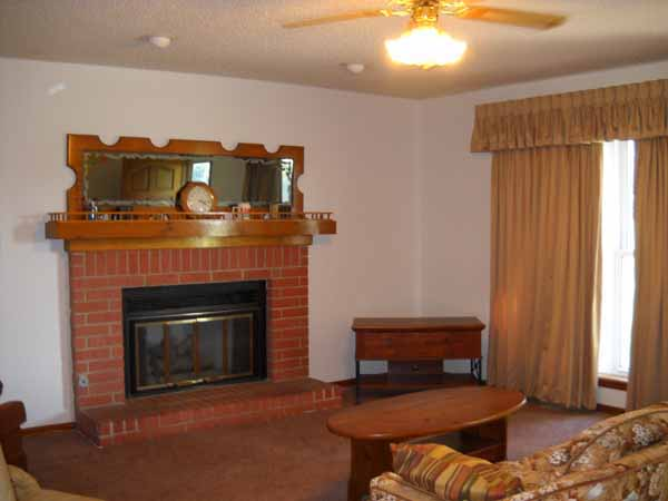 Full brick fireplace has gas starter and glass doors
