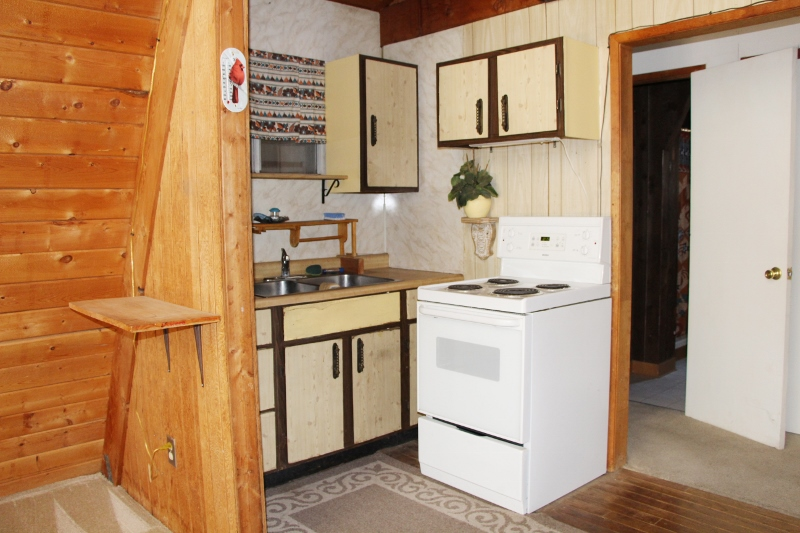Inside A Frame Suite, 1 bedroom 1 bath with wood burning stove and loft